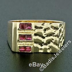 Men's 14k Yellow Gold 0.30ctw Channel Square Cut Ruby & Nugget Texture Band Ring