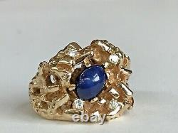Men's 14k Yellow Gold Star Sapphire & Diamond Nugget Ring VERY FINE RING