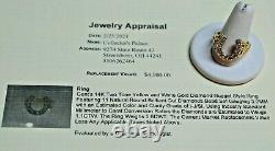 Men's 14k Yellow & White Gold 1.1ct Diamond Nugget Horseshoe Ring Sz 11.5 $4100