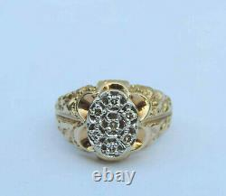 Men's Nugget Diamond Cluster Ring With Seven Genuine Diamonds 10K Yellow Gold
