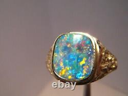 Men' s Opal Ring Solid 14 k Gold Nugget style Neon RED