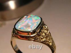Men' s Opal Ring Solid 14 k Gold Nugget style Red and Blue