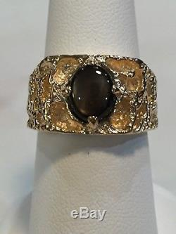Men's Ring with Natural Black Star Sapphire 1.70 CT 14k Gold Nugget sz 7.5