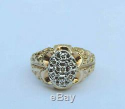 Men's Seven Genuine Diamond Oval Cluster Ring with Nugget Accent 10K Yellow Gold