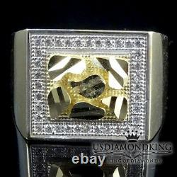 Men's Two Tone Real 100% 10k Yellow Gold Nugget Cz Ring Band 5.4 Grams Sz 10 New
