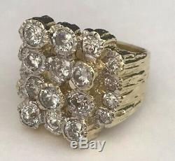 Men's Vintage 18k Solid Yellow Gold & 3.5ct Diamond Nugget Cluster Ring 24.8g