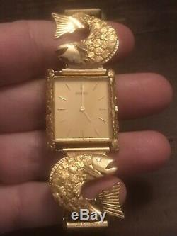 Mens Genuine Alaska 22K Natural Gold Nugget & Diamond Watch New King Salmon