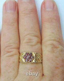 Mens Genuine Round Ruby Nugget Ring with 7 Rubies 10K Yellow Gold