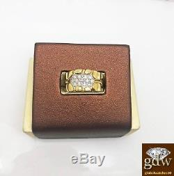 Mens Real 10 k Yellow Gold, Genuine Diamond Nugget Ring Band, Casual, Pinky N