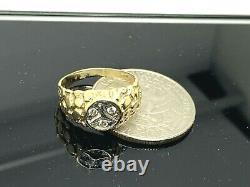 Mercedes Benz Ring 14K Yellow Gold Logo Symbol Diamond Nugget Style Estate SZ 5