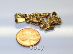 NICE 14K Gold Heavy Estate Men's Diamond Nugget Style Pendant 9.6 Grams