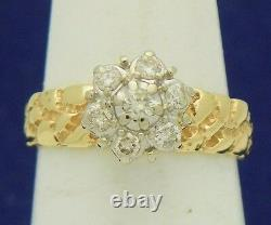 NUGGET DESIGN 1/3 ct DIAMOND CLUSTER RING REAL SOLID 10 K GOLD 3.3 g SIZE 6.25