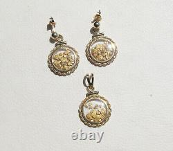 Natural 22K Gold Placer Nugget Flakes in 14KT Locket Earring & Pendant Set