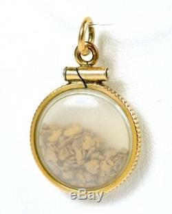 Natural 24k Gold Floating Loose Nugget Shaker Pendant 1.9 GRAMS 7/8