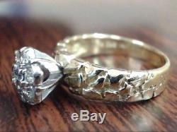 Natural 7 Diamond Cluster 0.32 Ctw Nugget Ring Real 14k Gold Sz 7.25 (i-1559)