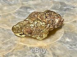 Natural 88g Museum Quality Gold Nugget With Quartz Traces Specimen, California