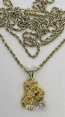 Natural Alaskan 22K Gold Nugget Pendant with a Diamond on 14k Gold 20 Chain