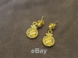 Natural Alaskan Loose 24k Gold Nuggets in 14k Gold Pendant Earrings 1.9 GRAMS