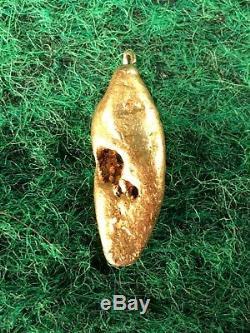 Natural Gold Nugget on Loop Pendant Specimen River Placer Bullion 3.51 Gram #F