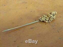 Natural Gold Placer Nugget Dawson Yukon Stick Pin 1900