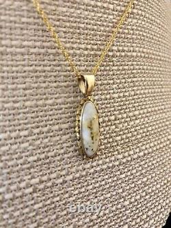 Natural Gold in Quartz Pendant 14 Kt. JEWELRY with Natural Nuggets, PN719NQX(B)