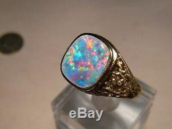 Natural Opal Mens Nugget Ring 14 K yellow Gold Red and Blue