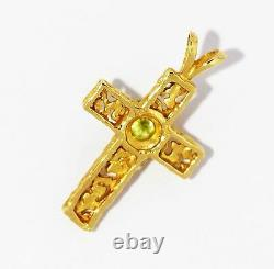 Nugget Cross with Genuine Peridot in 14K Solid Gold Pendant