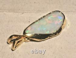 Opal Nugget Pendant Solid White Opal Clad in Hard 22ct Gold 22 x 9 mm 4.9ct