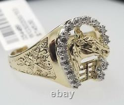 Real 10k Yellow Gold Geniune Diamond Horse Shoe Head Lucky Nugget Ring Band