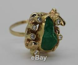 Rough Emerald & Cut Diamond Solid 14k Gold Nugget Style Ring sz 9.5 & 26 Grams