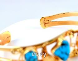 SIGNED JL 14K Yellow Gold Blue Turquoise Nugget Flower Cuff Bracelet 21 GRAMS