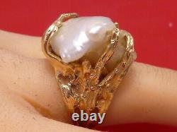 STUNNING Natural Baroque Pearl Nugget Ring 14K Gold Handcrafted Estate