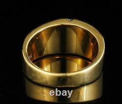 Signed Natural Gold Bearing Quartz Diamond Solid 14k Mens Wide Band Nugget Ring