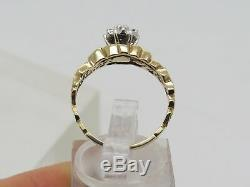 Solid 10k Yellow Gold Round Accent Diamond Cluster Nugget Pattern Ring Size 7.25