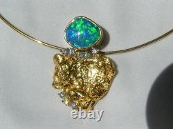 Solid Genuine Australian Opal, Diamond and Nugget 18ct Gold Pendant