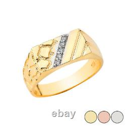 Solid Yellow / White / Rose Gold Diamond Nugget Men's Ring