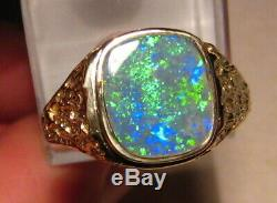 Sparkly Natural Opal Mens Nugget Ring 14 K yellow Gold