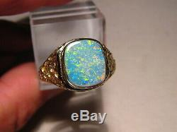 Sparkly Natural Opal Mens Nugget Ring 14 K yellow Gold Size 10 1/2