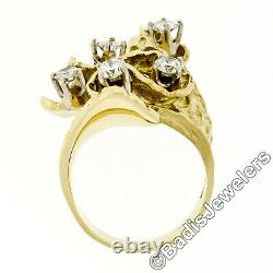 Statement Vintage 18K Yellow Gold 1.03ct Diamond Large Wavy Nugget Cocktail Ring