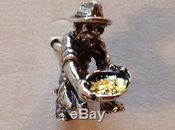 Sterling Silver Tie Tack Pin with 1 Gram of Real Natural California Gold Nuggets