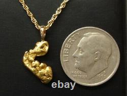 Unique AAA Natural Gold Nugget Pendant from the Golden State of California