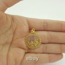 Unisex Pendant 22ct Yellow Gold Natural Gold Nugget Circle Pendant