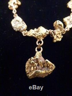 Victorian Era Antique Natural ALASKA/PLACER PURE GOLD NUGGET Necklace 49.7 g