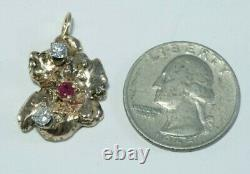 Vintage 14K Gold Nugget &. 60ctw Diamond & Ruby Pendant, 10.4 grams