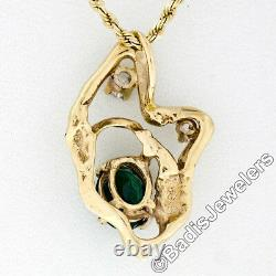 Vintage 14K Gold Oval Green Tourmaline Diamond Open Freeform Nugget Pendant Withch