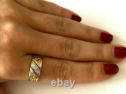 Vintage 14K Yellow Gold Men's Ring Wedding Band 3 Natural Diamond Nugget Size 9