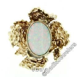 Vintage 14k Gold Oval Opal Solitaire & Nugget Textured Free Form Cocktail Ring