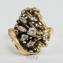Vintage 14k Solid Yellow Gold Diamond Nugget Style Ladies Cocktail Ring Size 7.5