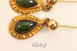 Vintage 14k Yellow Gold Alaskan Jade Natural Nuggets Post Dangle Earrings