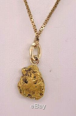Vintage 22k yellow gold Natural Gold Nugget Pendant 15 Square Serpentine Chain